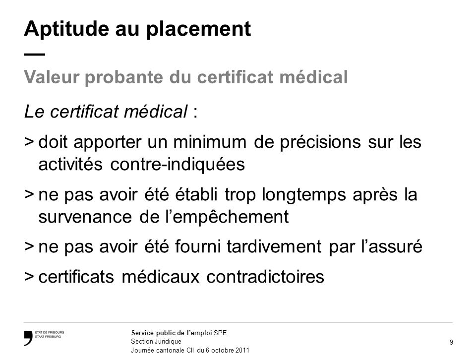 Aptitude au placement —