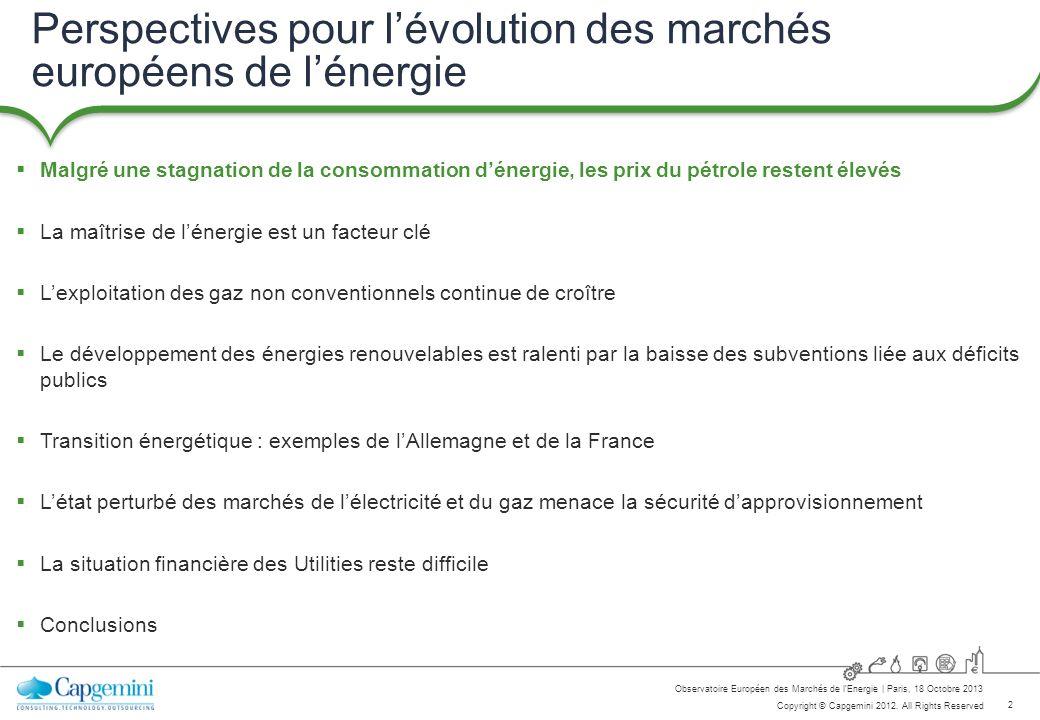 Perspectives pour l'évolution des marchés européens de l'énergie