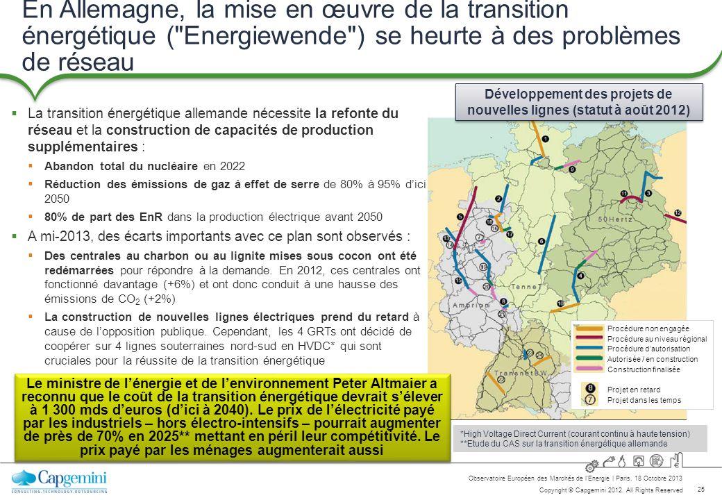 Développement des projets de nouvelles lignes (statut à août 2012)