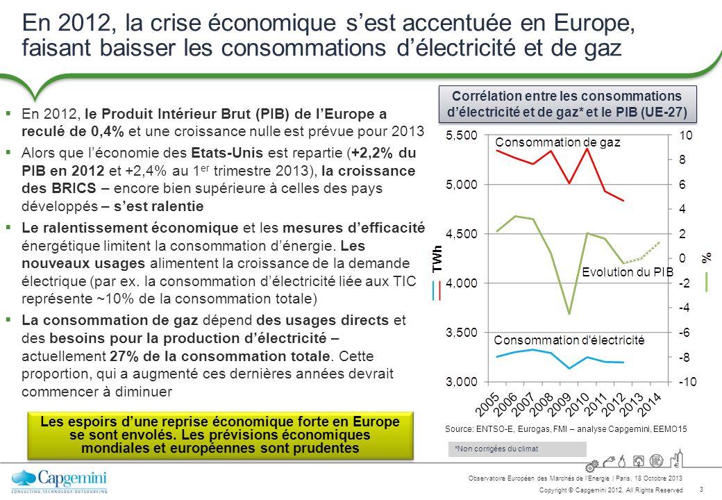 En 2012, la crise économique s'est accentuée en Europe, faisant baisser les consommations d'électricité et de gaz