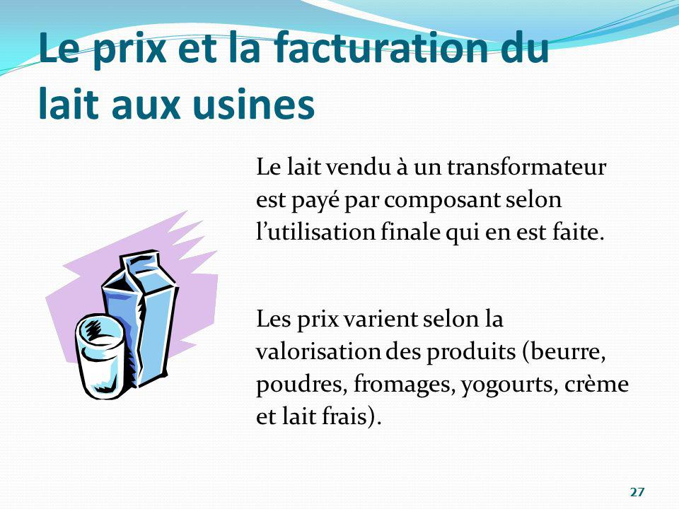 Le prix et la facturation du lait aux usines