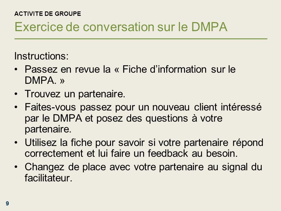 ActivitE de groupe Exercice de conversation sur le DMPA