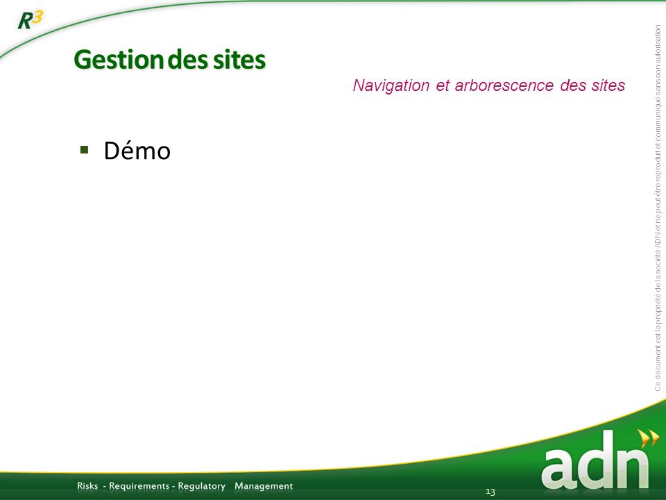 Gestion des sites Navigation et arborescence des sites Démo