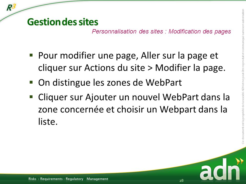 Gestion des sites Personnalisation des sites : Modification des pages.
