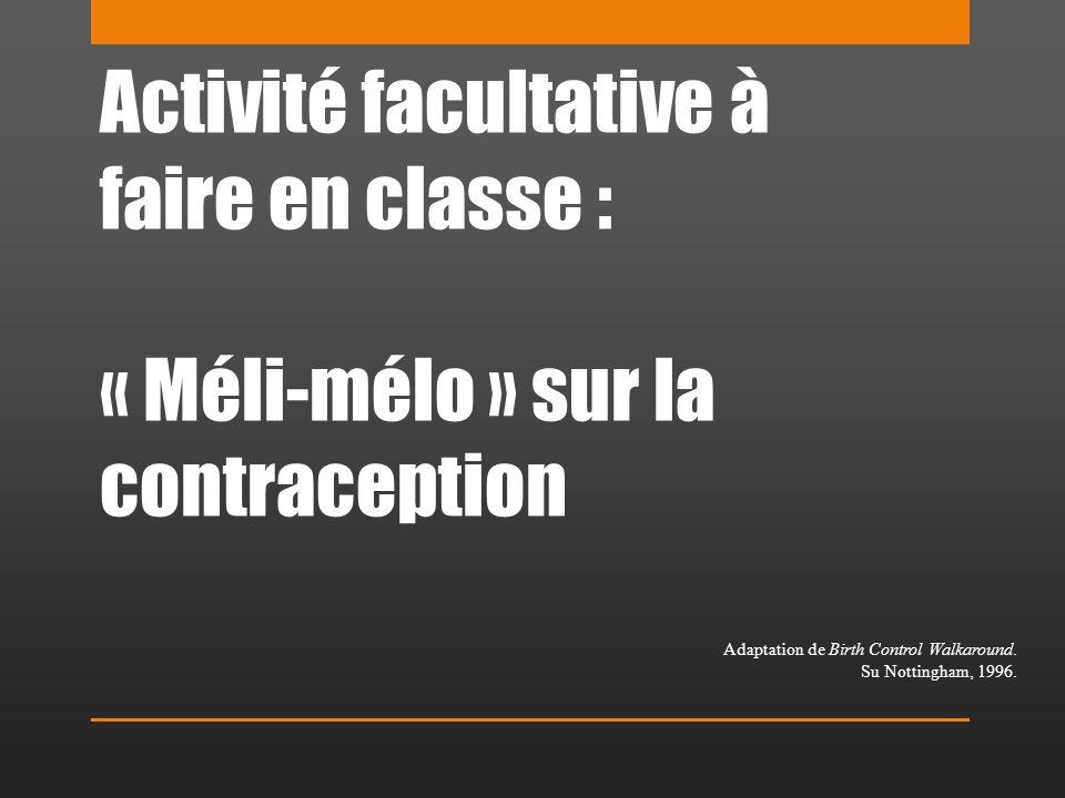 Activité facultative à faire en classe : « Méli-mélo » sur la contraception