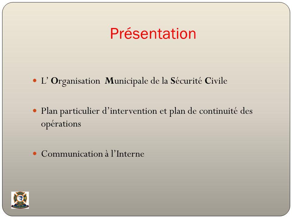 Présentation L' Organisation Municipale de la Sécurité Civile