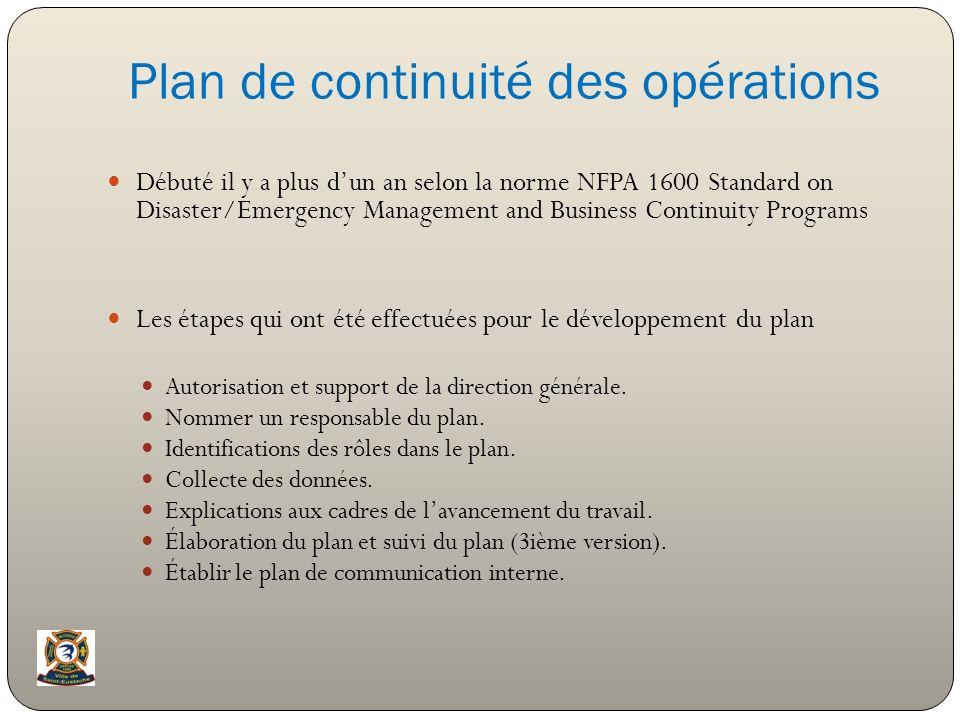 Plan de continuité des opérations