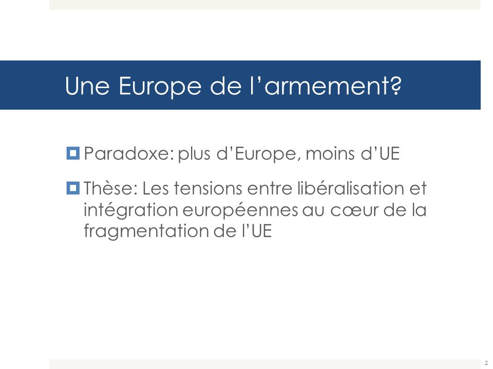Une Europe de l'armement