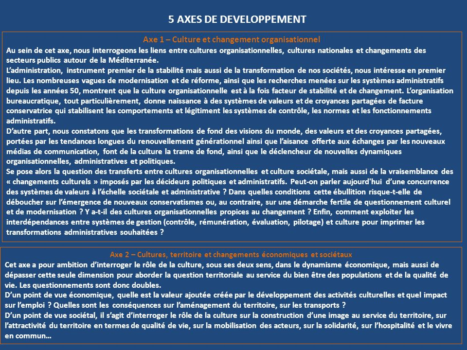 Axe 2 – Cultures, territoire et changements économiques et sociétaux