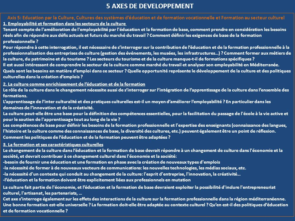 5 AXES DE DEVELOPPEMENT