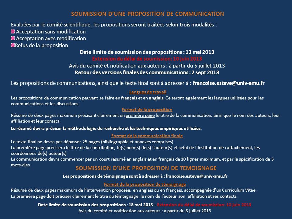 SOUMISSION D'UNE PROPOSITION DE COMMUNICATION