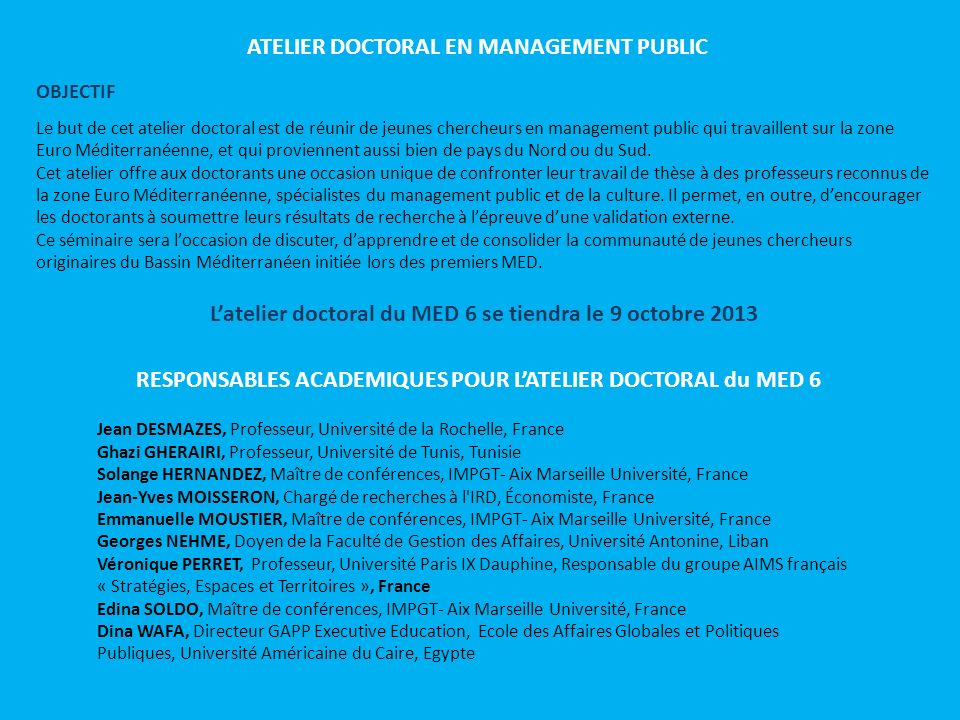 ATELIER DOCTORAL EN MANAGEMENT PUBLIC