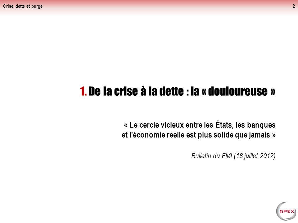 Crise, dette et purge Pas de sortie de crise en vue pour les USA et la zone euro, mais une récession qui s'annonce.