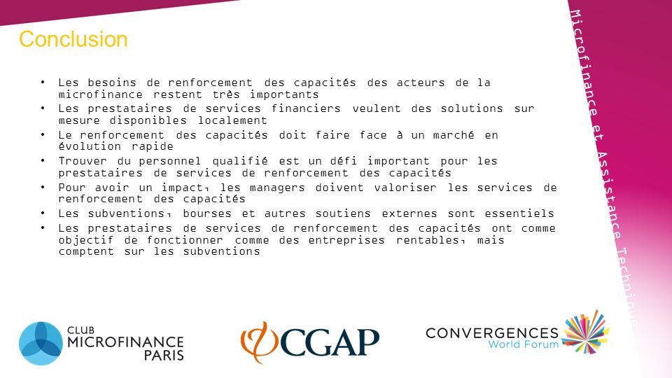Conclusion Microfinance et Assistance Technique
