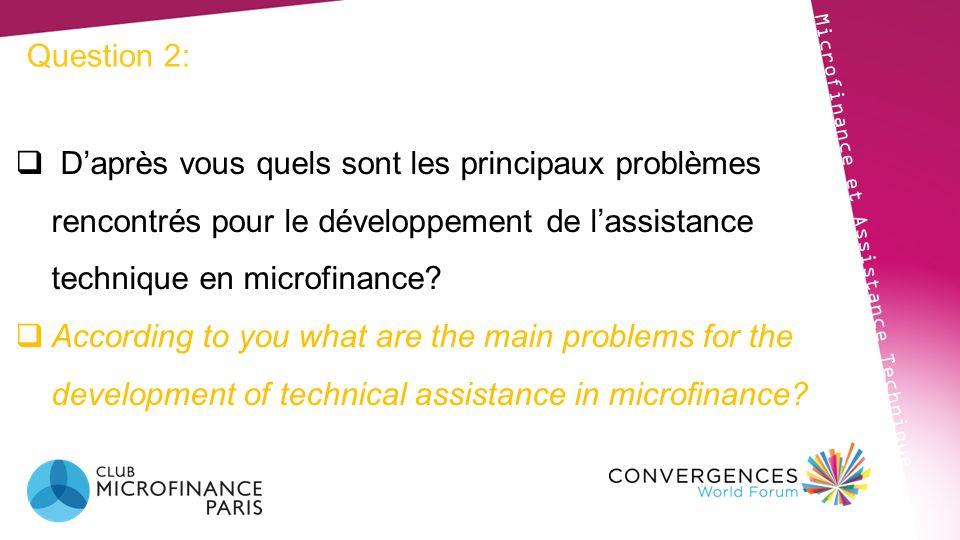 Question 2: D'après vous quels sont les principaux problèmes rencontrés pour le développement de l'assistance technique en microfinance