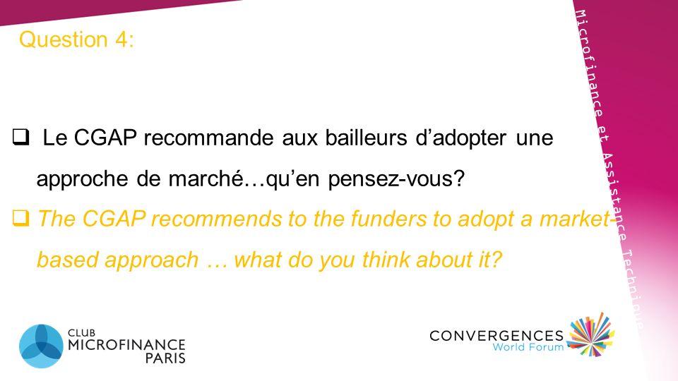 Question 4: Le CGAP recommande aux bailleurs d'adopter une approche de marché…qu'en pensez-vous