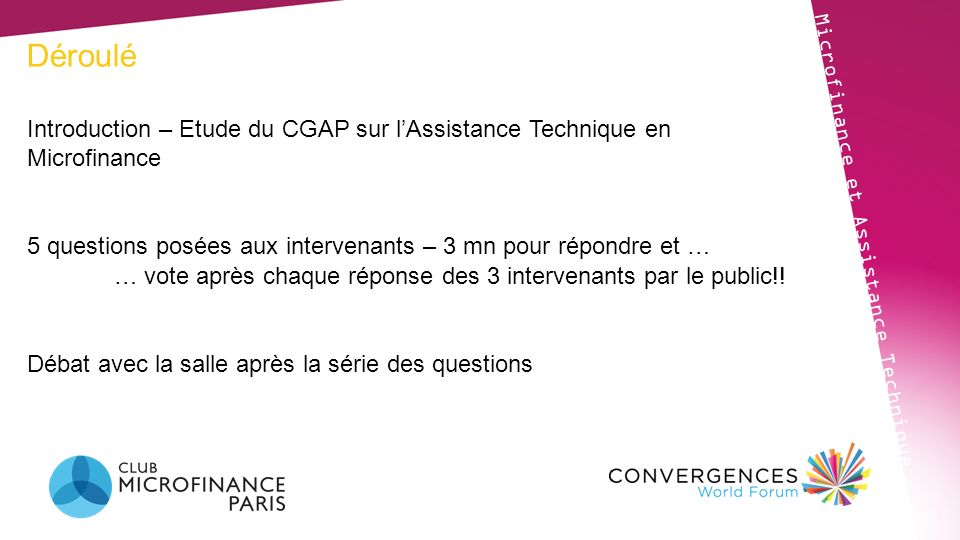Déroulé Introduction – Etude du CGAP sur l'Assistance Technique en Microfinance. 5 questions posées aux intervenants – 3 mn pour répondre et …