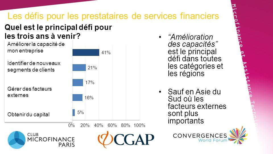 Les défis pour les prestataires de services financiers