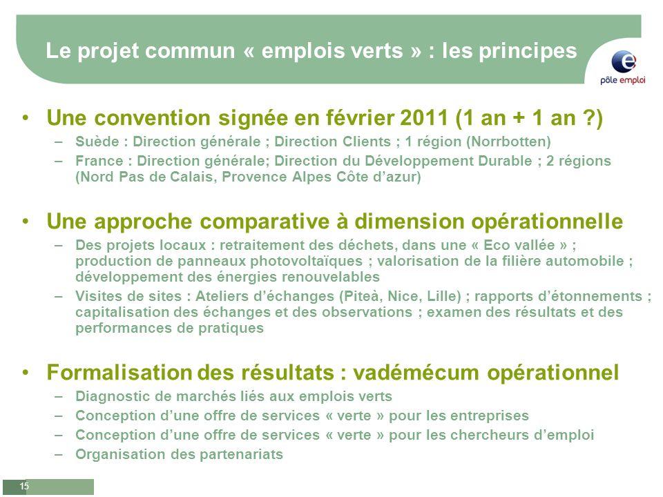Le projet commun « emplois verts » : les principes