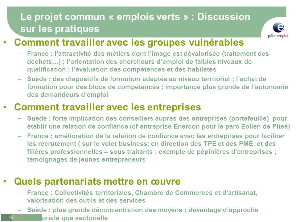 Le projet commun « emplois verts » : Discussion sur les pratiques