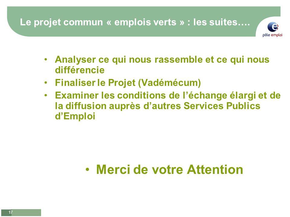 Le projet commun « emplois verts » : les suites….