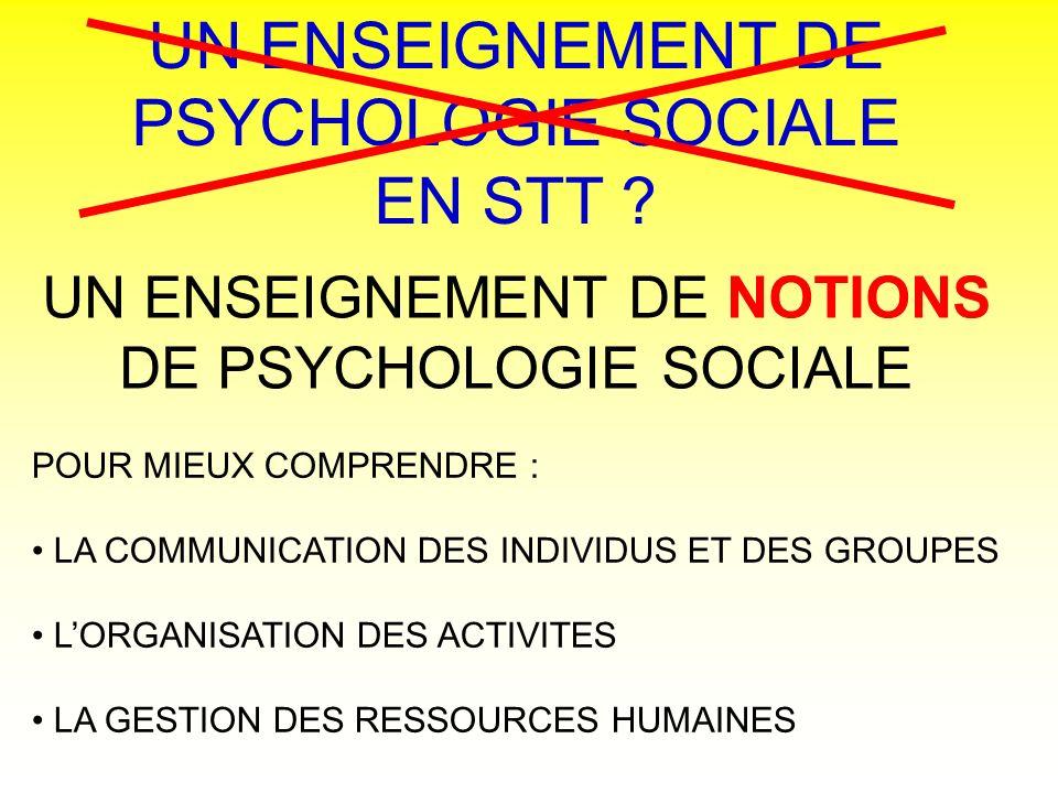 UN ENSEIGNEMENT DE PSYCHOLOGIE SOCIALE EN STT
