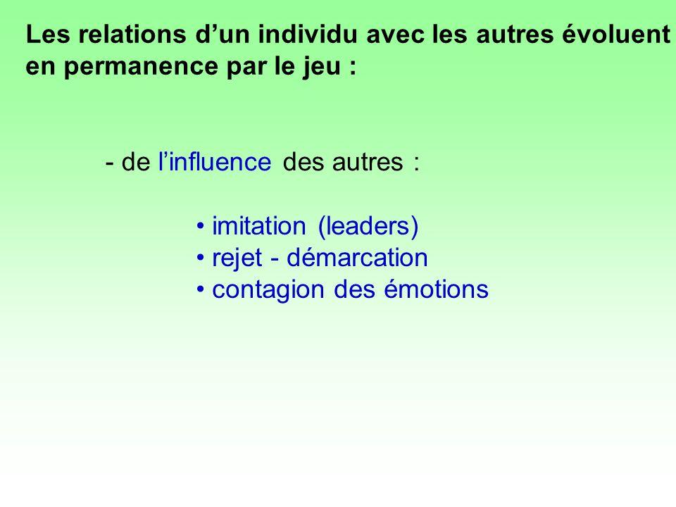 Les relations d'un individu avec les autres évoluent