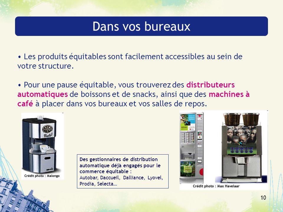Dans vos bureaux Les produits équitables sont facilement accessibles au sein de votre structure.