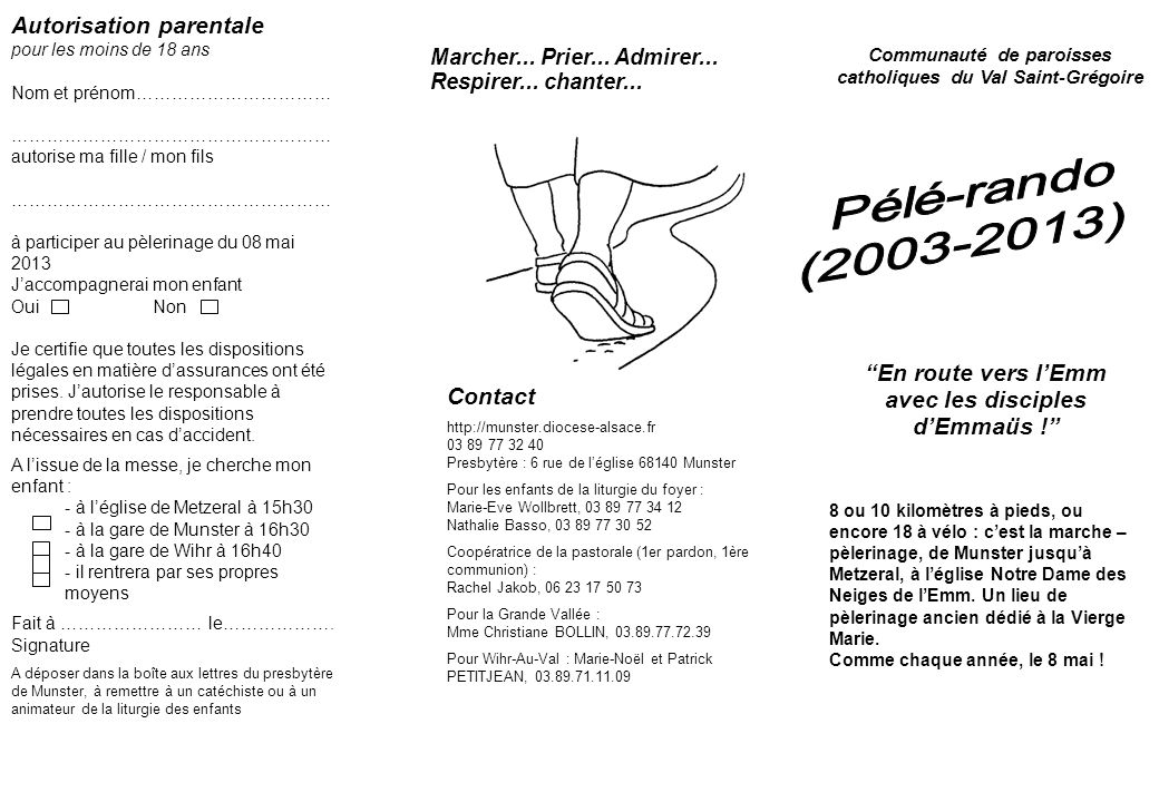 Pélé-rando (2003-2013) Autorisation parentale