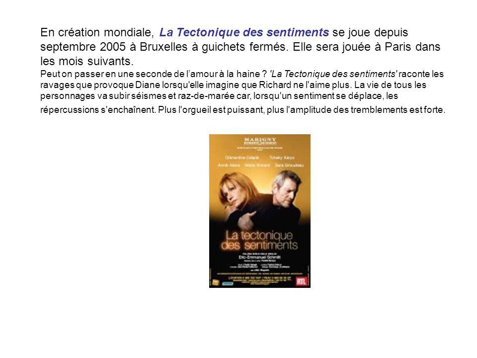 En création mondiale, La Tectonique des sentiments se joue depuis septembre 2005 à Bruxelles à guichets fermés. Elle sera jouée à Paris dans les mois suivants.