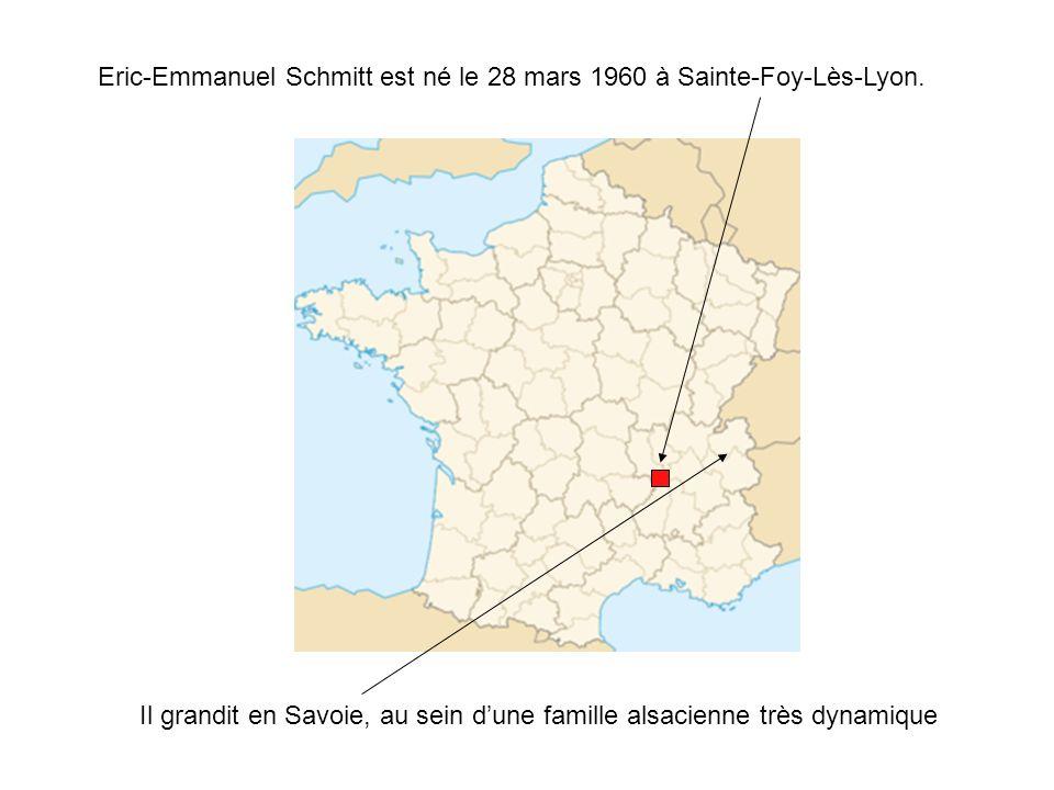 Eric-Emmanuel Schmitt est né le 28 mars 1960 à Sainte-Foy-Lès-Lyon.