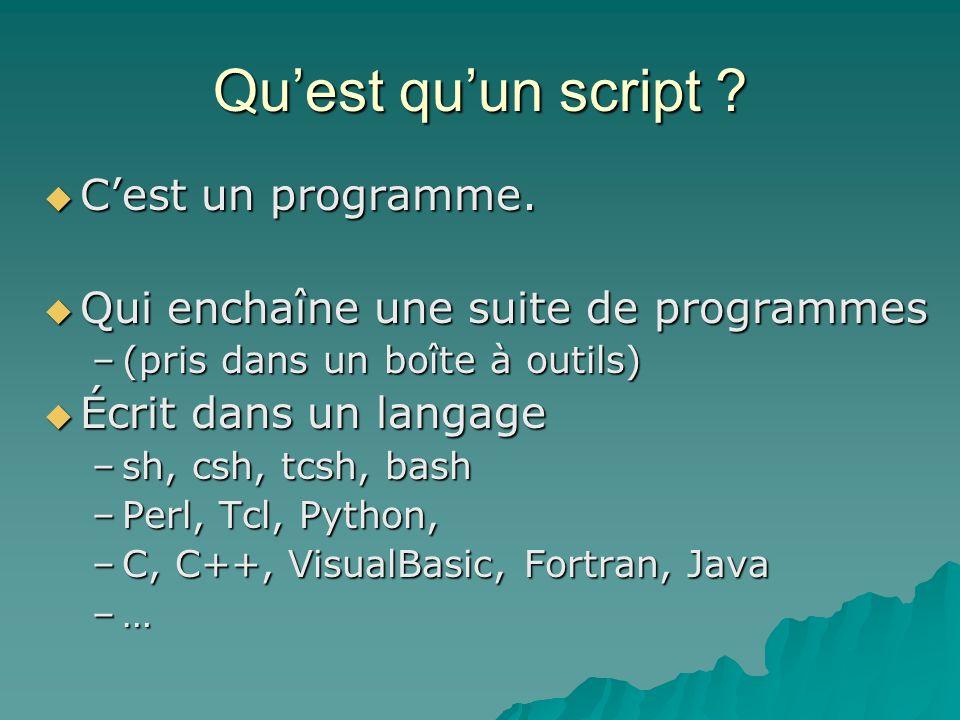 Qu'est qu'un script C'est un programme.