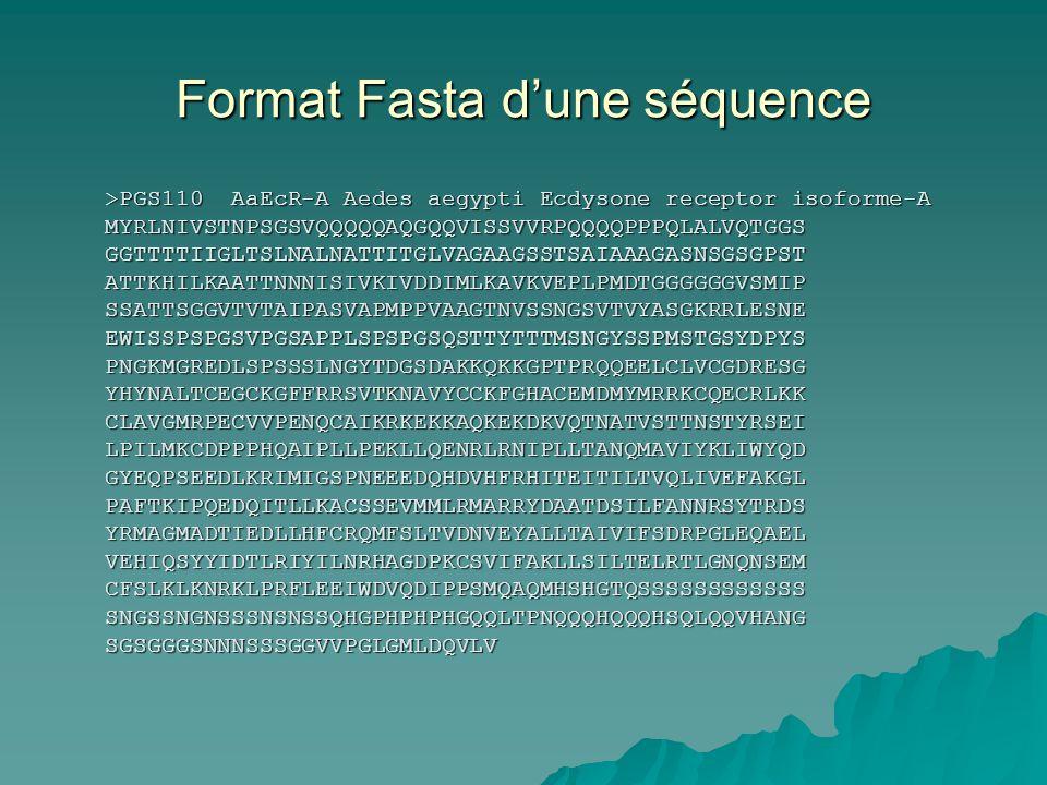 Format Fasta d'une séquence