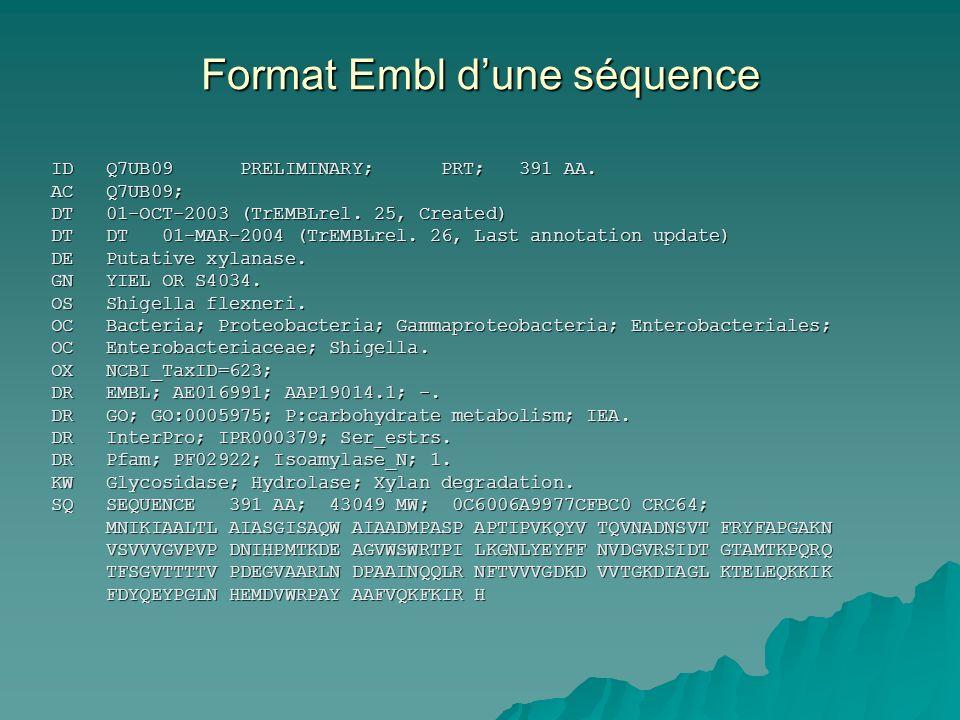 Format Embl d'une séquence