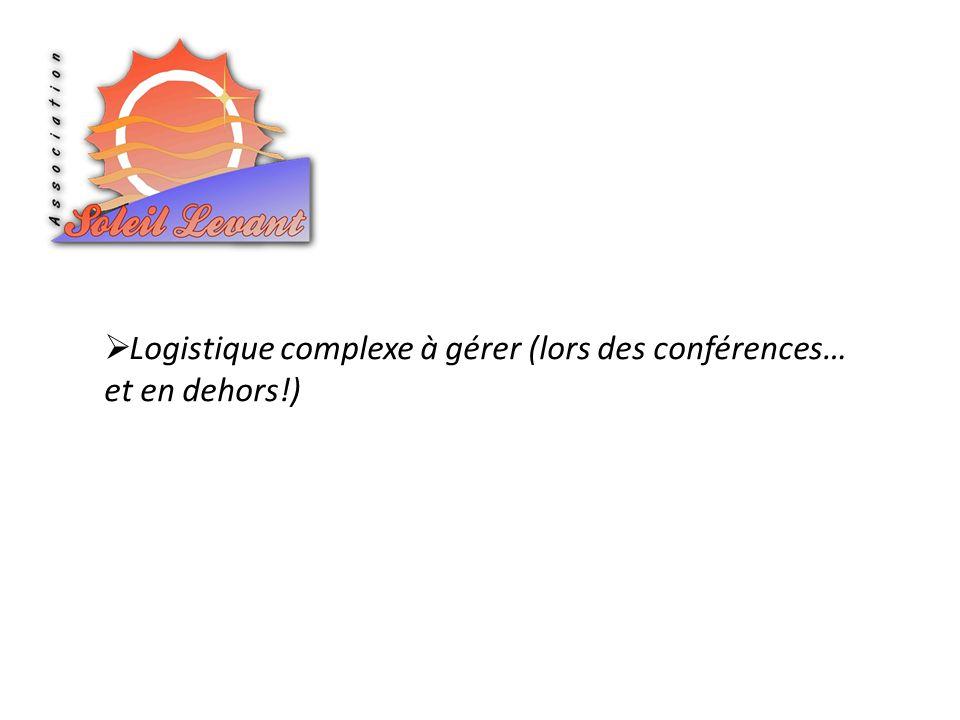 Logistique complexe à gérer (lors des conférences… et en dehors!)