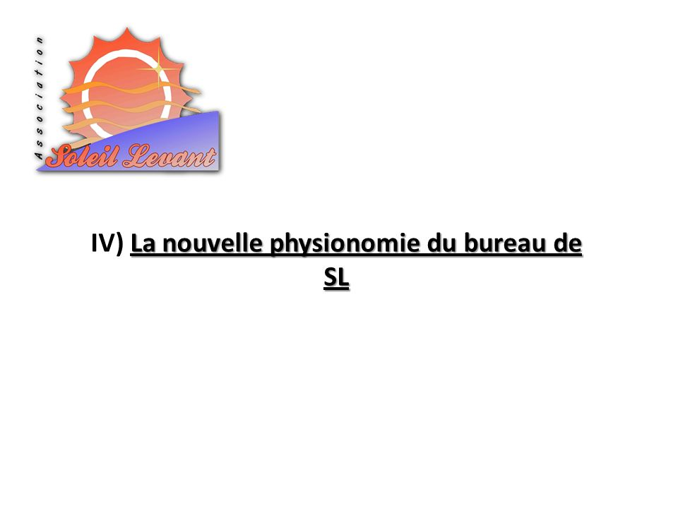 IV) La nouvelle physionomie du bureau de SL