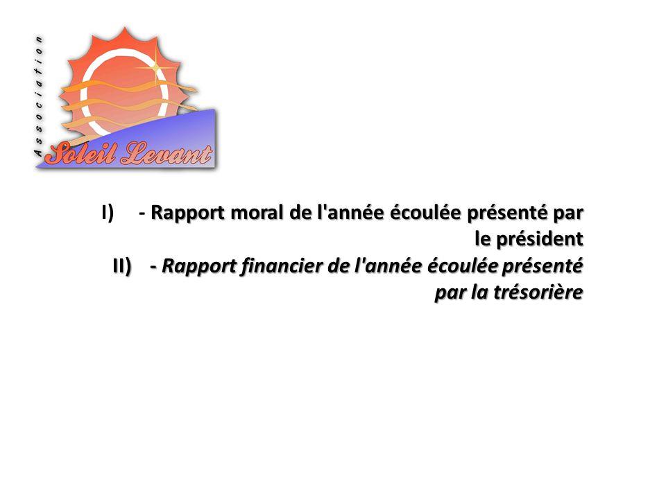 - Rapport moral de l année écoulée présenté par le président