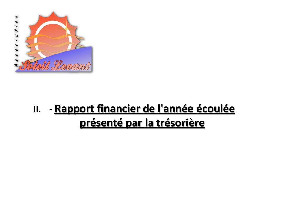 - Rapport financier de l année écoulée présenté par la trésorière