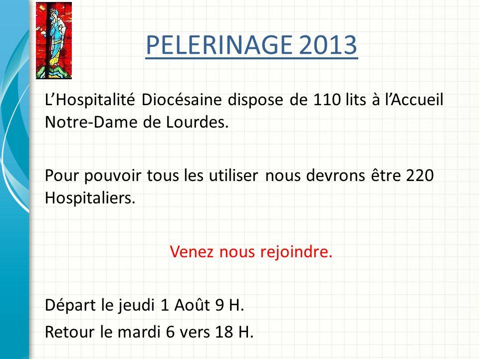 PELERINAGE 2013 L'Hospitalité Diocésaine dispose de 110 lits à l'Accueil Notre-Dame de Lourdes.