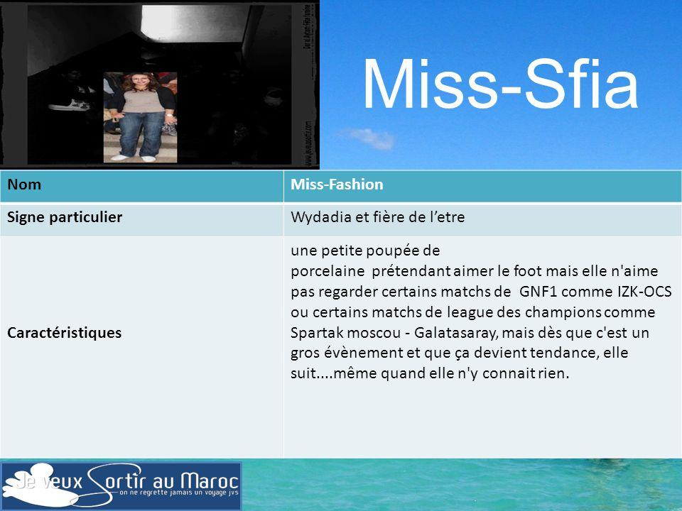 Miss-Sfia Nom Miss-Fashion Signe particulier