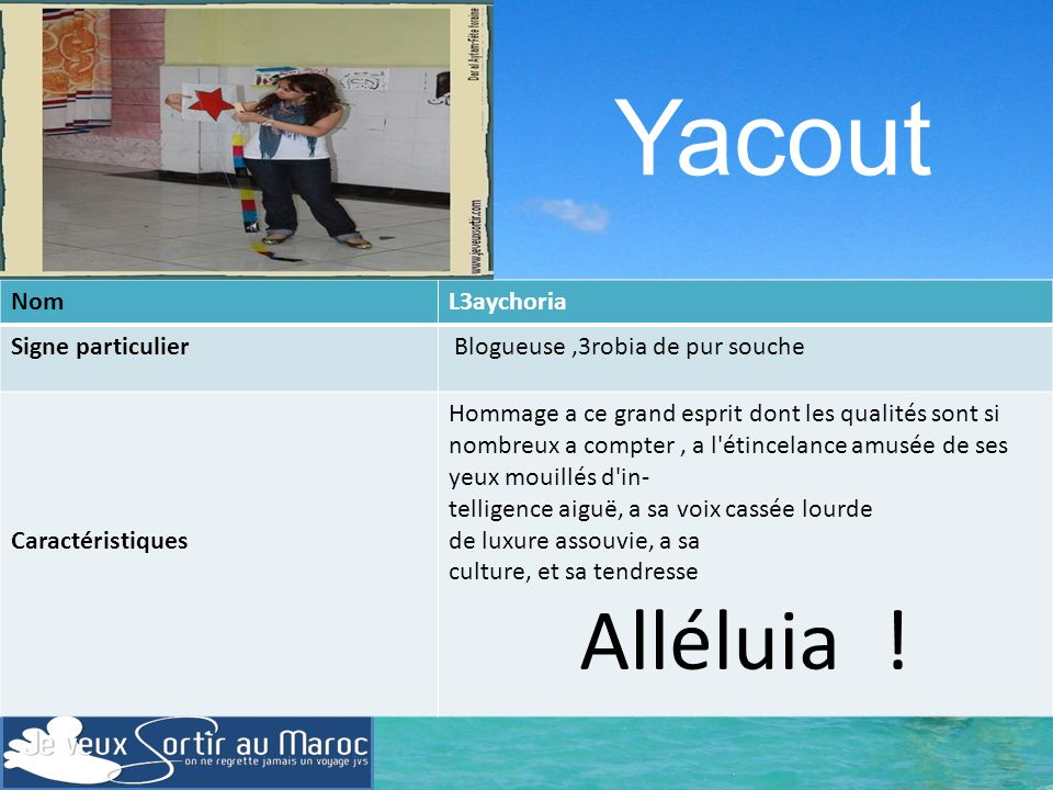 Yacout Alléluia ! Nom L3aychoria Signe particulier