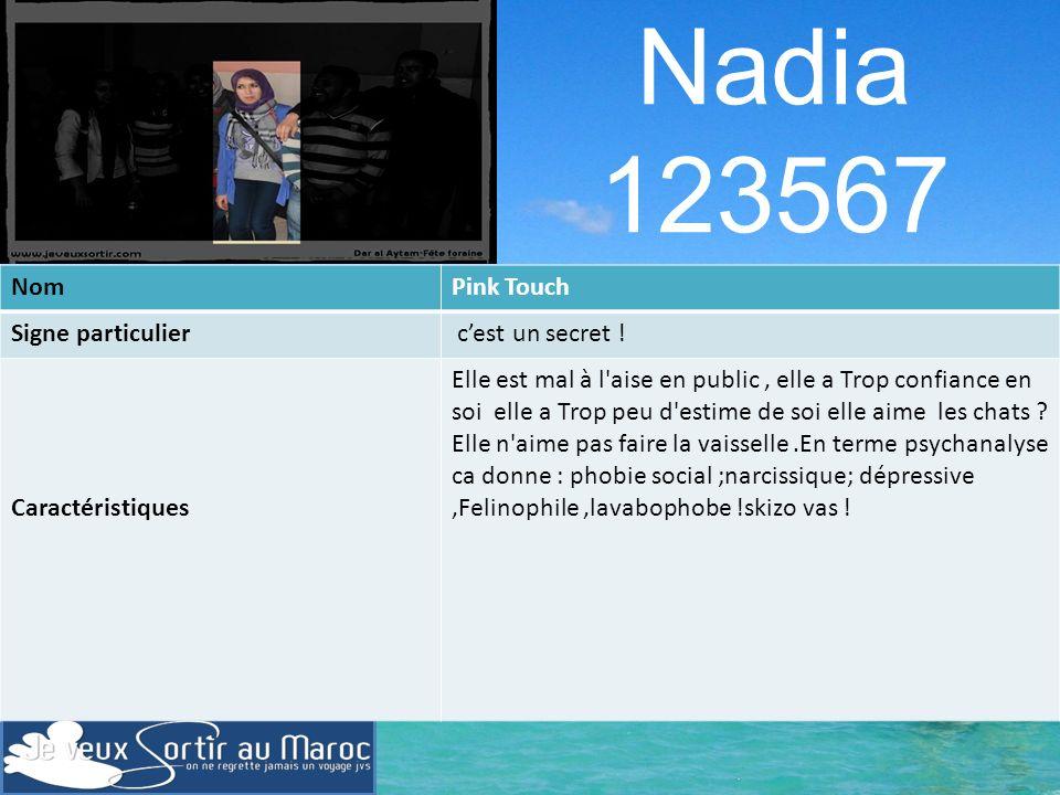 Nadia 123567 Nom Pink Touch Signe particulier c'est un secret !