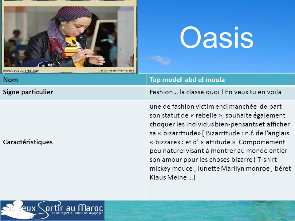 Oasis Nom Top model abd el moula Signe particulier