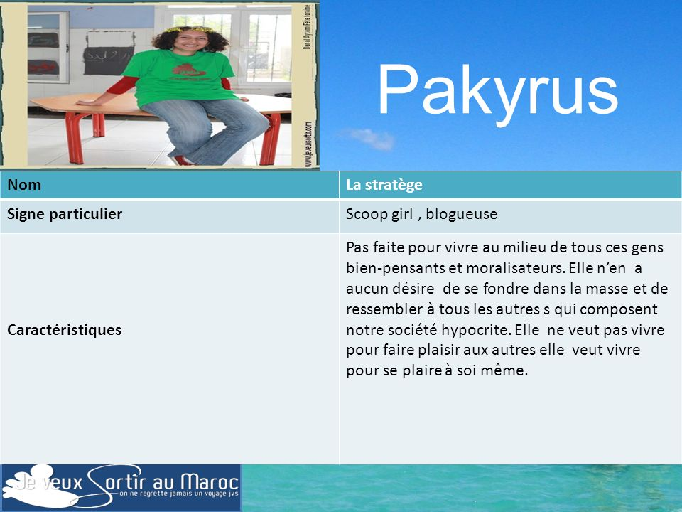 Pakyrus Nom La stratège Signe particulier Scoop girl , blogueuse