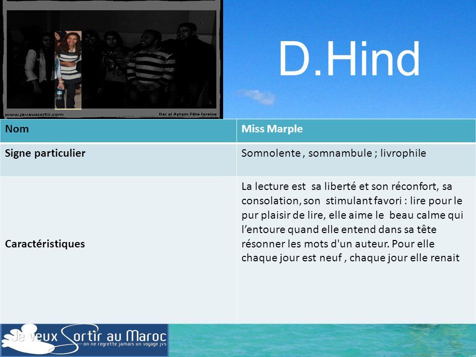 D.Hind Nom Miss Marple Signe particulier