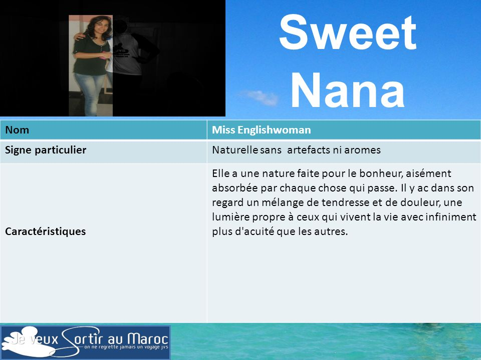 Sweet Nana Nom Miss Englishwoman Signe particulier
