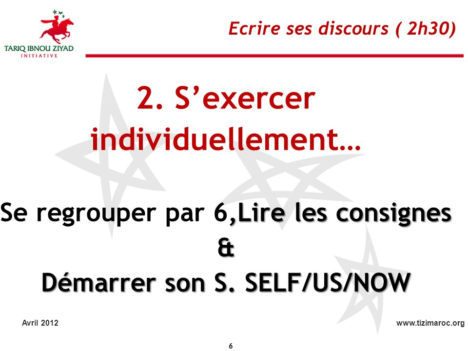 Se regrouper par 6,Lire les consignes Démarrer son S. SELF/US/NOW