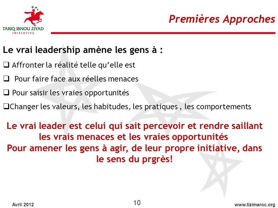 Premières Approches Le vrai leadership amène les gens à :