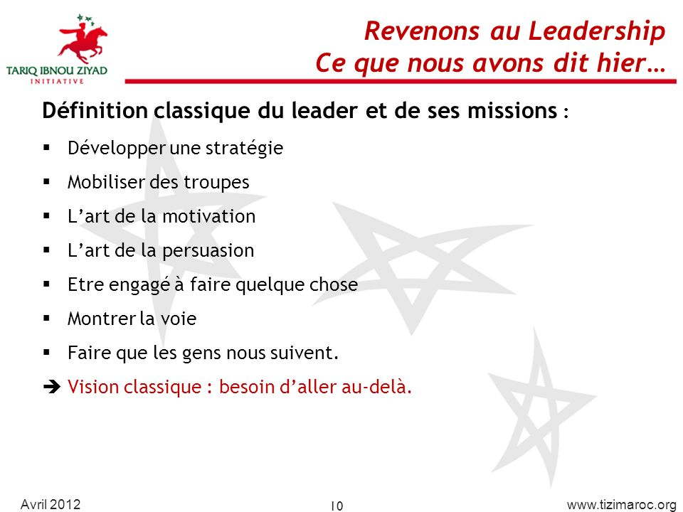 Revenons au Leadership Ce que nous avons dit hier…
