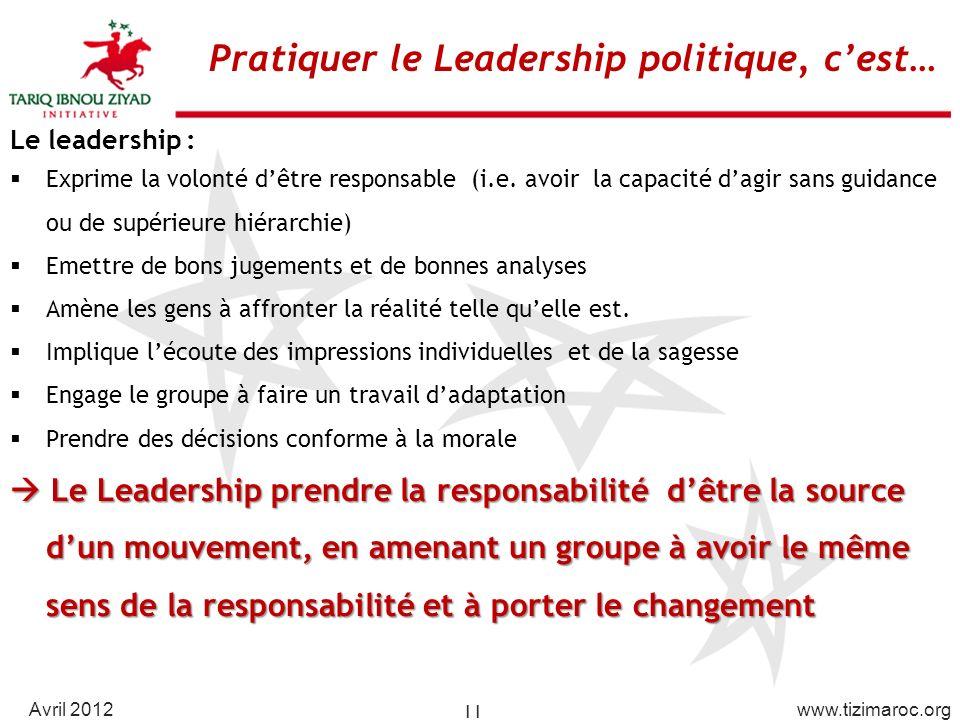 Pratiquer le Leadership politique, c'est…